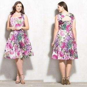 Dressbarn Floral Fit And Flare A-line Tea Dress